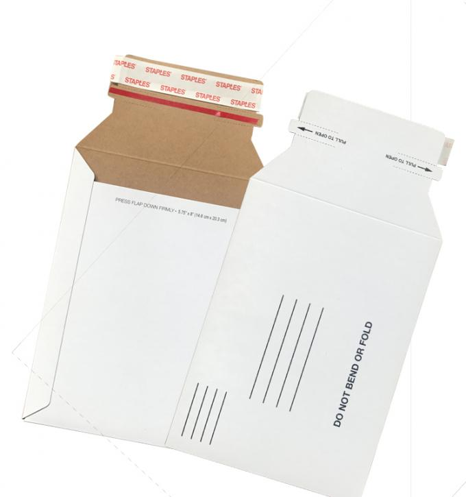 White Color Rigid Cardboard Shipping Envelopes Stay Flat Mailer For CD Photo Mailing