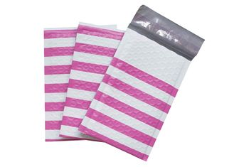 Pink Strip Poly Bubble Mailers , Customized Decorative Poly Mailing Bags