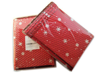 China Rigid Envelope Aluminium Metallic Bubble Mailer With Stunning Red Chirstmas Designs supplier