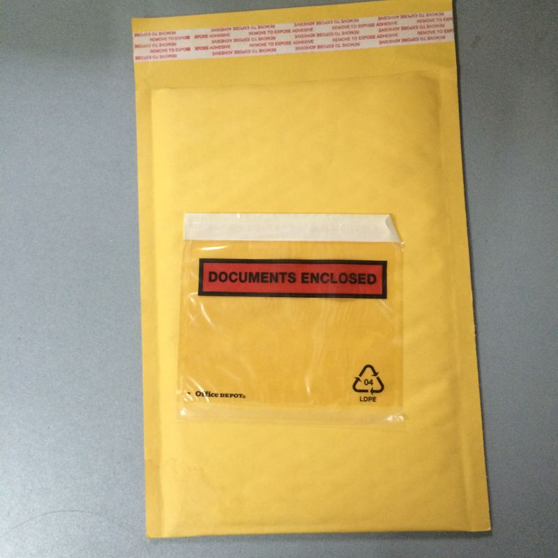 Golden / Yellow Padded Envelopes With Documents Enclosed / Attached Pouch