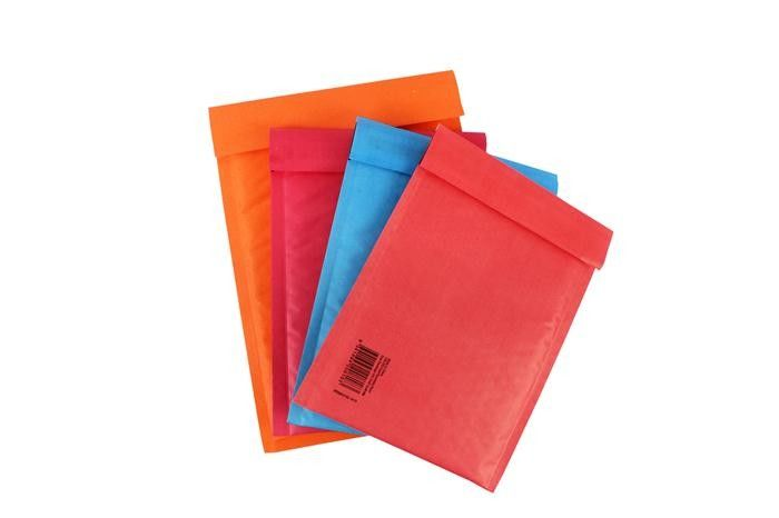 Colored Red kraft bubble mailers , kraft padded envelopes for shipping mailing