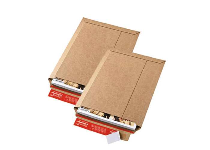 Brown A4 Printed Rigid Mailers Peel & Seal Stay Flat Cardboard Envelopes