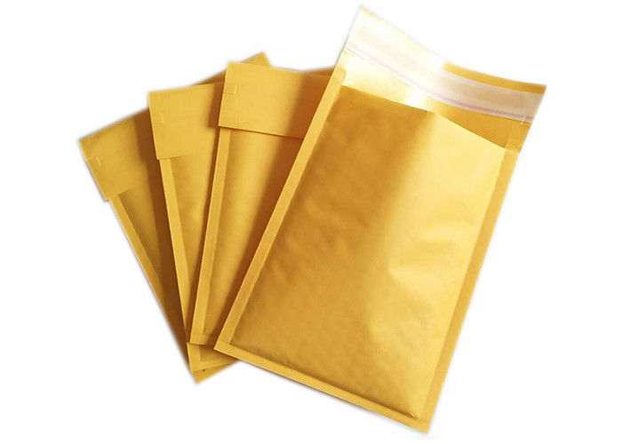 100% Recyclable Material Kraft Bubble Mailer Yellow Color Custom Size Envelopes