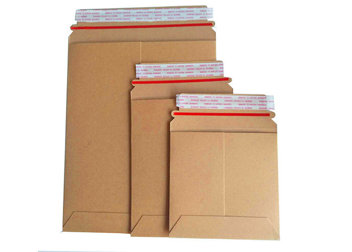 Brown Rigid Cardboard Envelopes No Plastic Customized Size With Easy Tear Strip