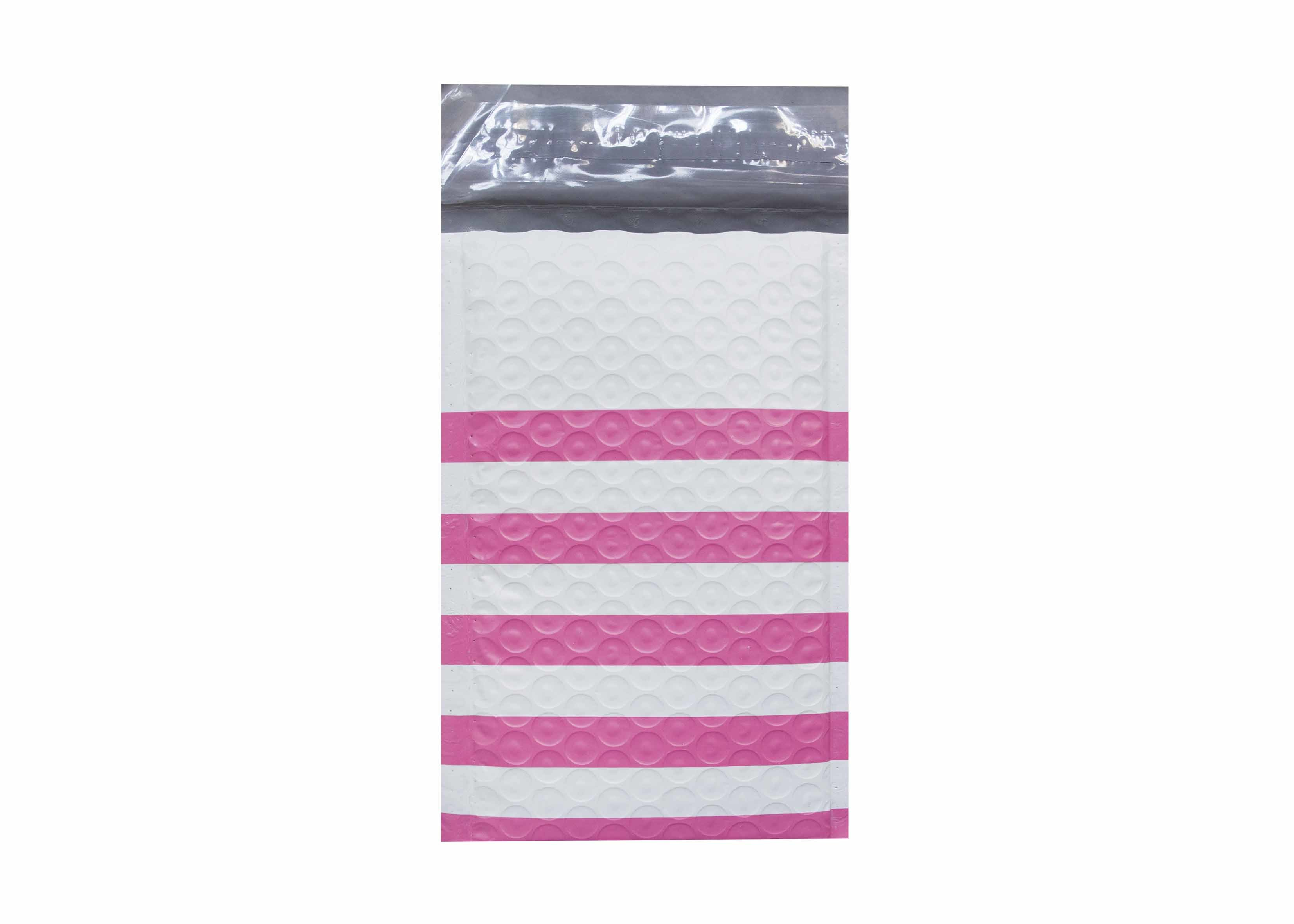 Pink Strip Poly Bubble Mailers Customized Decorative Poly