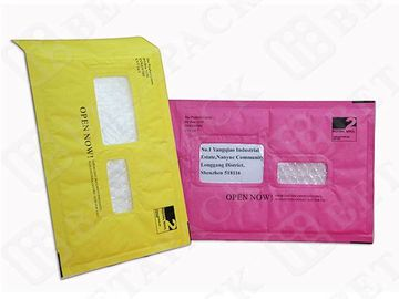 China Custom Made Recycled Kraft Bubble Mailer Green / Pink With Window factory