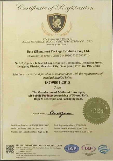 China BETA(ShenZhen) Package Products Co.Ltd. Certification
